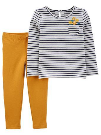 CARTERS - 2-Piece Striped Tee & Slub Jersey Pants NO COLOR