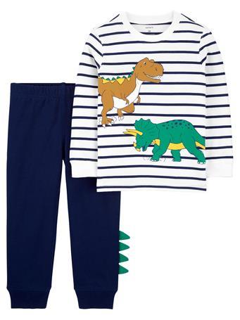 CARTERS - 2-Piece Striped Dinosaur Jersey Tee & Jogger Pant Set NO COLOR