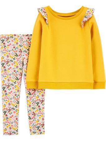 CARTERS - 2-Piece Long-Sleeve Tee & Floral Legging Set MUSTARD