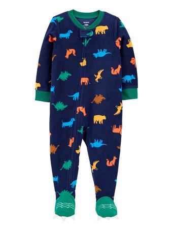 CARTERS - 1-Piece Dinosaur Fleece Footie PJs NAVY
