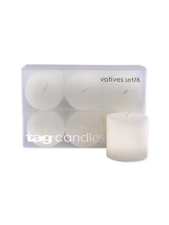 WHITE BASIC VOTIVE CANDLES SET/6 WHITE