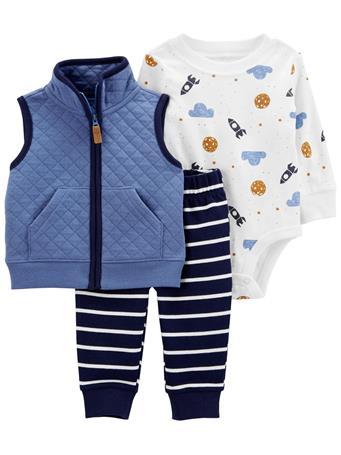 CARTERS - 3-Piece Little Vest Set BLUE