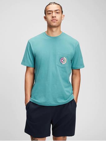 GAP - 100% Organic Cotton Graphic Pocket T-Shirt SEA GLASS GREEN 161