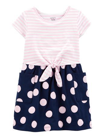 CARTERS - Mixed Print Jersey Dress PINK