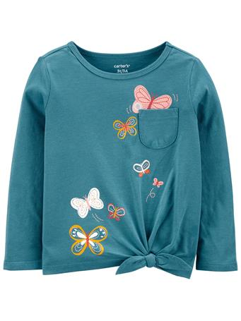 CARTERS - Butterfly Jersey Tee TEAL