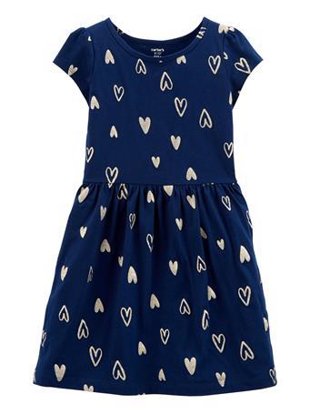 CARTERS - Heart Jersey Dress NAVY