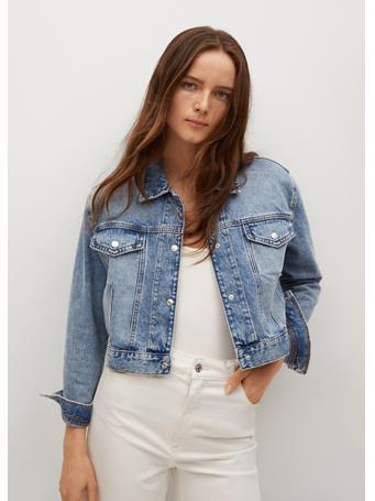 MANGO - Cropped Jacket With Shoulder Pads MEDIUM BLUE