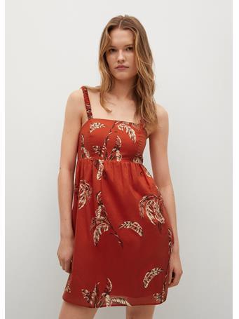 MANGO - Printed Cotton Dress BRIGHT RED