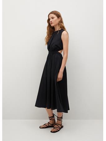 MANGO - Vent Cotton Dress BLACK