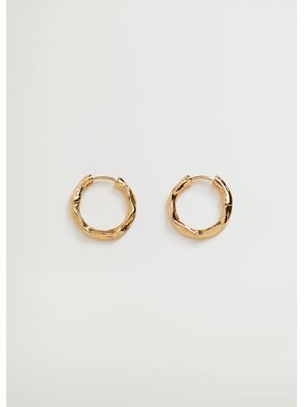 MANGO - Embossed Hoop Earrings GOLD