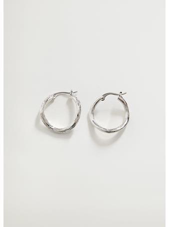 MANGO - Embossed Hoop Earrings LT GREY