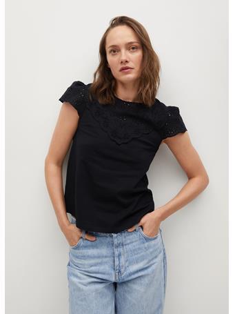 MANGO - Cotton T-shirt Broderie Anglaise BLACK
