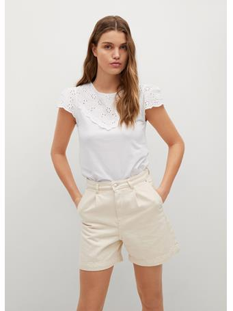 MANGO - Cotton T-shirt Broderie Anglaise WHITE