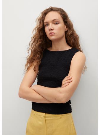 MANGO - Textured Cotton Top BLACK