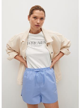 MANGO - Message Cotton T-shirt WHITE