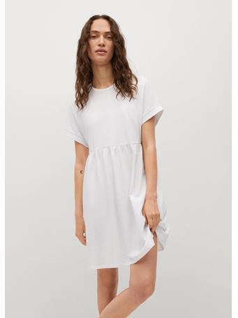 MANGO - Frill Cotton Dress NATURAL WHITE