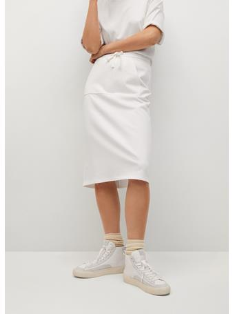 MANGO - Pocket Cotton-blend Skirt WHITE