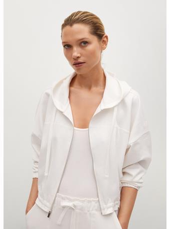 MANGO - Zipper Cotton Sweater WHITE