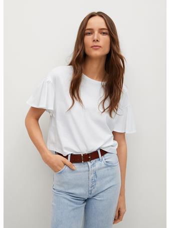 MANGO - Frills Cotton T-shirt WHITE