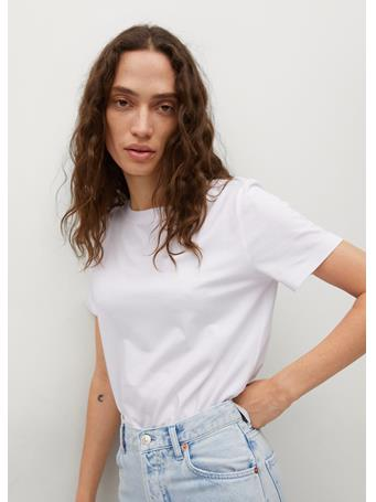 MANGO - Essential Cotton-blend T-shirt WHITE