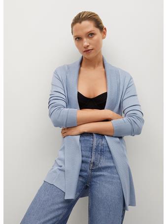 MANGO - Fine-knit Cardigan MEDIUM BLUE