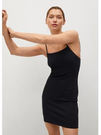 MANGO - Fitted Textured Dress BLACK