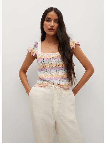 MANGO - Openwork Knit Cotton Top NATURAL WHITE