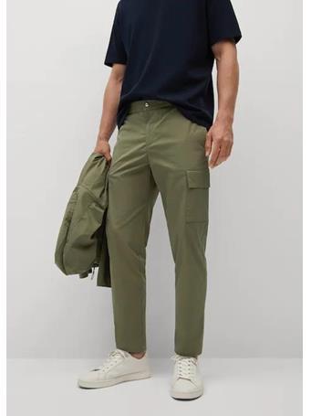 MANGO - Cotton cropped cargo pants KHAKI