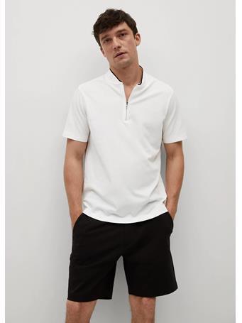 MANGO - Bomber-collar cotton polo shirt OFF WHITE