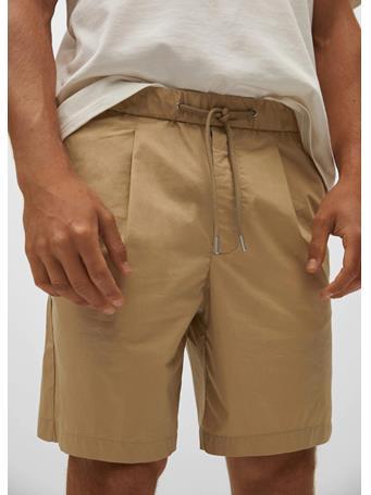 MANGO - Jogger cotton Bermuda shorts BEIGE