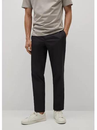 MANGO - Slim fit cropped chino trousers BLACK