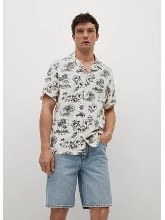 MANGO - Hawaiian print shirt CREAM
