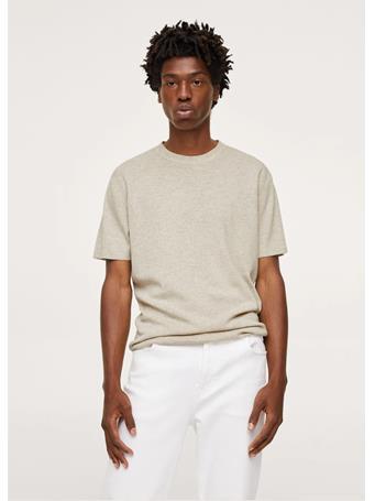 MANGO - Flecked knit t-shirt BEIGE