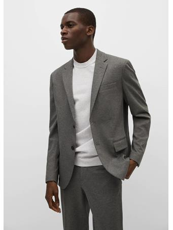 MANGO - Slim-fit cotton blazer GREY