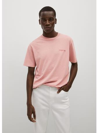 MANGO - Embroidered cotton message t-shirt PINK