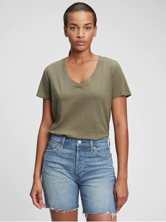 GAP - 100% Organic Cotton Vintage V-Neck T-Shirt DESERT CACTUS