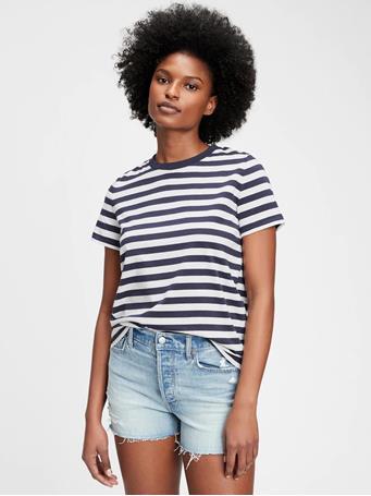 GAP - 100% Organic Cotton Vintage T-Shirt MILK STRIPE