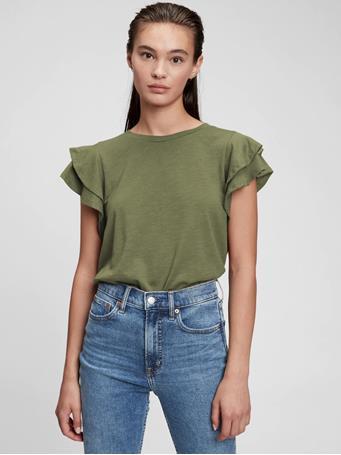 GAP - Ruffle Sleeve T-Shirt DESERT CACTUS