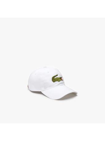 LACOSTE -  Contrast Strap And Oversized Crocodile Cotton Cap WHITE
