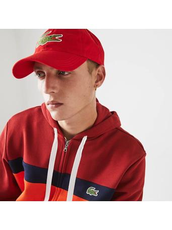 LACOSTE -  Contrast Strap And Oversized Crocodile Cotton Cap RED