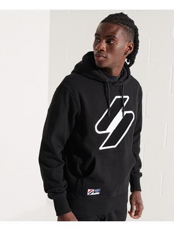 SUPERDRY - Code Logo Chenille Hoodie BLACK