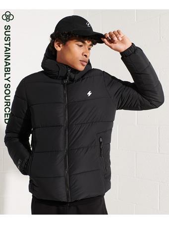 SUPERDRY - Hooded Sports Puffer Jacket BLACK