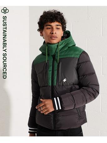 SUPERDRY - Sports Puffer Colour Block Jacket BLACK
