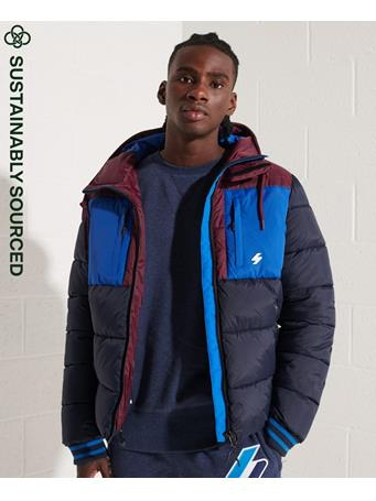 SUPERDRY - Sports Puffer Colour Block Jacket NAVY
