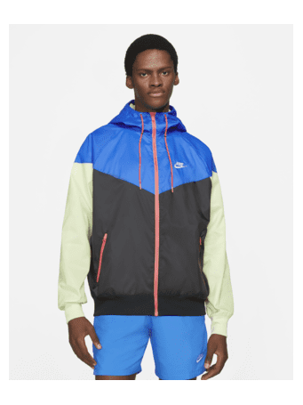 NIKE - Sportswear Windrunner Men's Hooded Jacket BLACK/SIG/BL/LIMICE (WHITE)