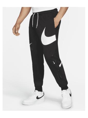 NIKE - Sportswear Swoosh Men's Semi-Brushed-Back Trousers BLACK(WHITE)