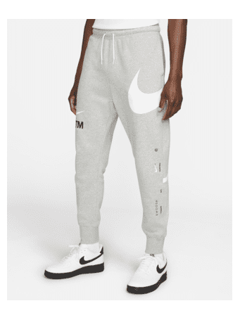 NIKE - Sportswear Swoosh Men's Semi-Brushed-Back Trousers DK GREY HEATHER (WHITE)