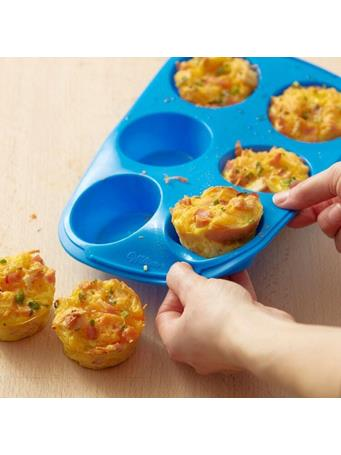 WILTON - Easy-Flex Silicone Muffin and Cupcake Pan, 6 Cup - Blue No Color