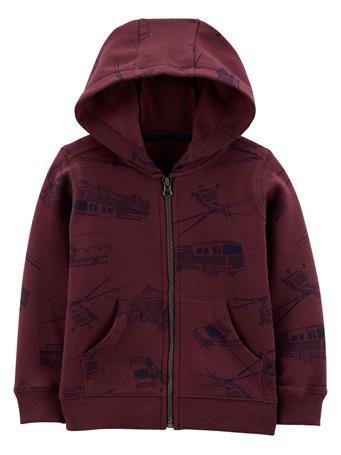 CARTER'S - Zip-Up Fleece Hoodie BURGUNDY