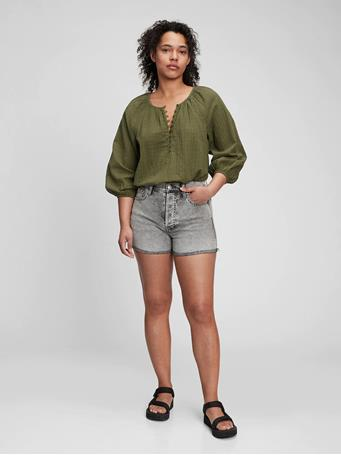 GAP - Three-Quarter Sleeve Button-Front Top ARMY JACKET GREEN